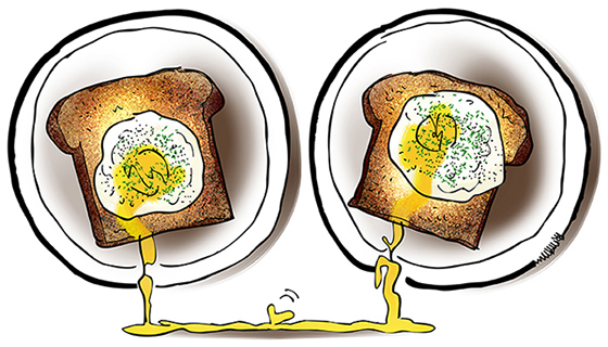 father teenage son bonding over breakfast poached eggs on toast, stab yolks which run together to form heart