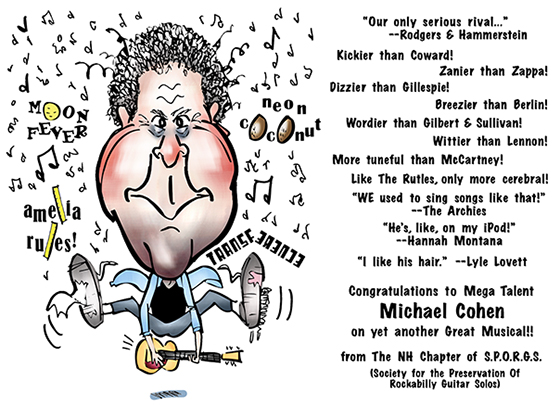 caricature of songwriter and playwright Michael Mike Cohen, guitarist for Fuzzy Logic Band, has written musicals Neon Coconut, Moon Fever, Transference, Amelia Rules
