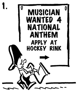 street musician Busker with saxophone walks past sign saying musician needed to play national anthem at hockey rink