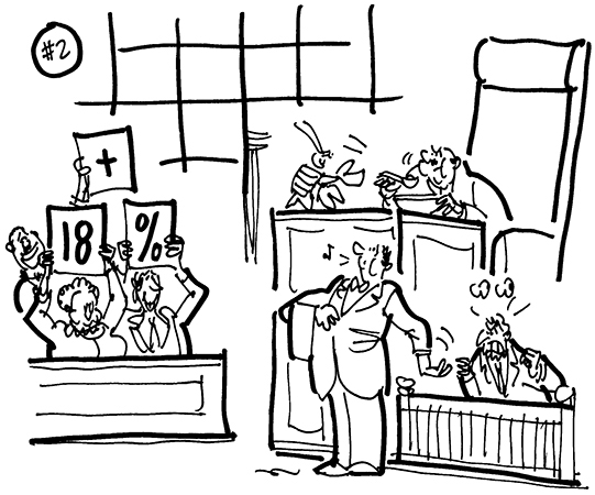 cartoon illustration about lawsuit filed because Times Square restaurants padding bill with extra gratuity so customers paying as much as 18% tip, lawyer as waiter with hand outstretched for tip from witness