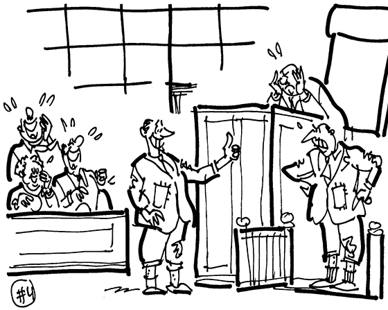 cartoon illustration man sued Brooks Brothers for giving him wrong suit and not allowing him to return wrong item, lawyer wearing lousy suit giving thumbs-up to witness who is also wearing bad suit