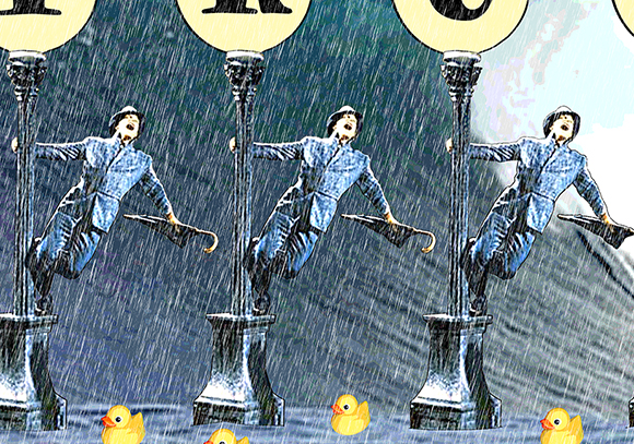 detail image for parody of Singing In The Rain movie with Gene Kelly on lamppost, surfer catching wave, and rubber ducks to show importance of trust in business