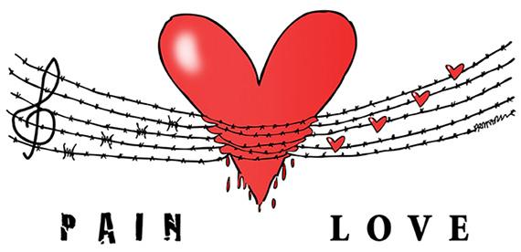 human heart in pain, wrapped in barbed wire musical scale, elderly caregivers face pain and anguish in caring for disabled spouse loved one, but love enables them to endure all trials, love never fails