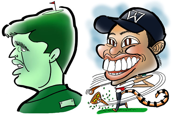 caricatures of golfers Phil Mickelson and Tiger Woods