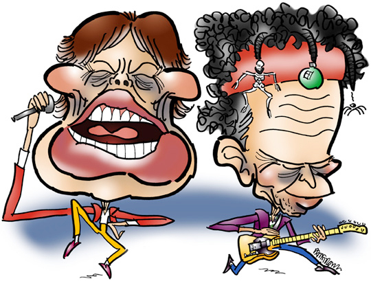 caricatures of Mick Jagger and Keith Richards, singer and guitarist respectively in the rock band The Rolling Stones