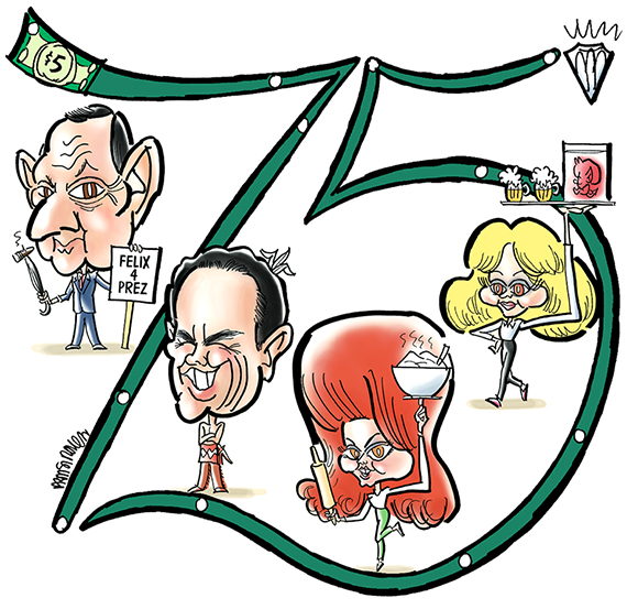caricatures of celebrities who attended Northwestern University: Tony Randall famous for The Odd Couple; movie star Warren Beatty; singer Ann-Margret; television actress Shelley Long of Cheers