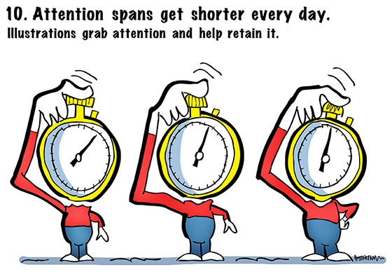 illustration of three little people with stopwatch heads, part of 13 Reasons To Hire An Illustrator slideshow, making point that attention spans are short and illustrations grab and retain a person's attention