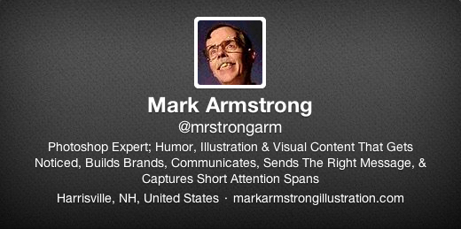 Twitter profile header for Mark Armstrong Illustration showing blank default grayish background
