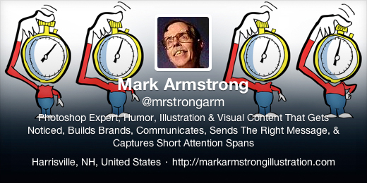 New Twitter profile header for Mark Armstrong Illustration featuring short attention span stopwatch heads