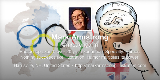 Old Twitter profile header for Mark Armstrong Illustration, featuring beer glass Olympic rings on bar tribute to 2012 Olympics Games in London