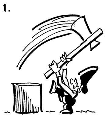 comic strip panel #1, street musician Busker swinging chopping maul, wants to chop block of wood