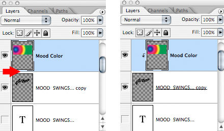 Photoshop Layers windows demonstrating how can alt-click on line between layers to convert upper layer to clipped layer