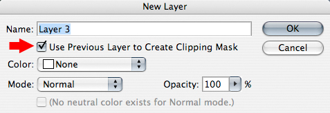 Photoshop New Layer Window check box to clip new layer to previous layer