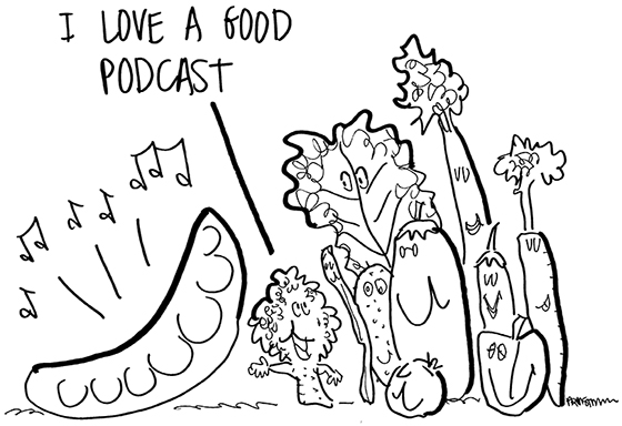 original pea podcast line drawing, broccoli string bean tomato eggplant, lettuce celery carrot other vegetables standing next to a peapod that is broadcasting a podcast