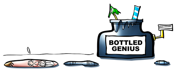 drawing of Bottled Genius ink bottle with straw and drink umbrella and ink puddles and Mark Armstrong caricature puddle for new Fine Art America store header