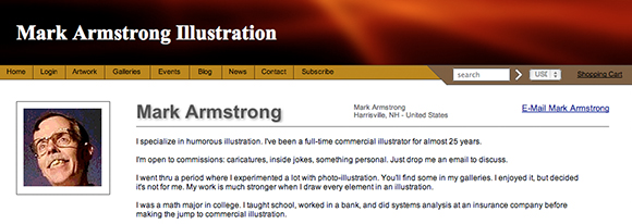 Original default header for illustrator Mark Armstrong's Fine Art America store where he sells prints and greeting cards