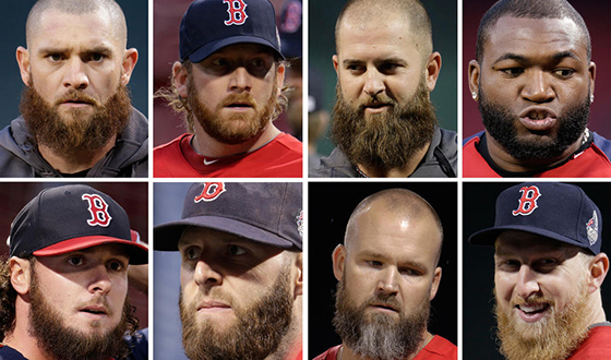 Boston Herald photo showing eight members of 2013 World Series Champion Boston Red Sox with their famous beards