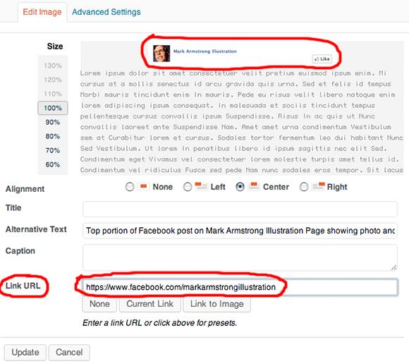 Wordpress Edit Image window showing URL link being added to image