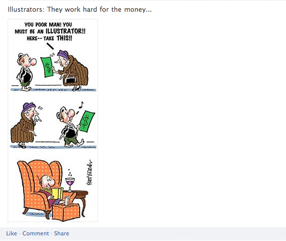 Bottom portion of Facebook post on Mark Armstrong Illustration Page showing imposter bum getting handout then relaxing at home drinking wine illustrators work hard for the money joke
