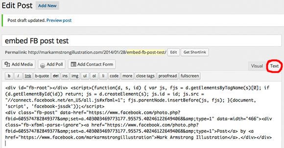 HTML embed code for Facebook post pasted into WordPress blog post draft