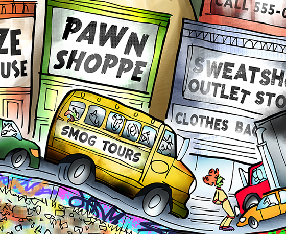 detail image Moe Gizmo roller-skating through traffic smog urban decay cityscape, past x-rated movie theater liquor warehouse pawn shop sweatshop dollar store Walmart Indian casino abandoned factory building