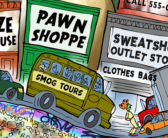 flat color detail Moe Gizmo roller-skating through traffic smog urban decay cityscape, past x-rated movie theater liquor warehouse pawn shop sweatshop dollar store Walmart Indian casino abandoned factory building