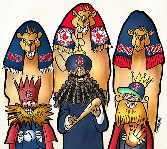 detail image of Wise Men Three Kings Epiphany parody showing three Boston Red Sox fans with beards and camels and bat ball and glove gifts headed for Fenway Park to pay homage to their bearded baseball heroes and 2013 World Series Champions