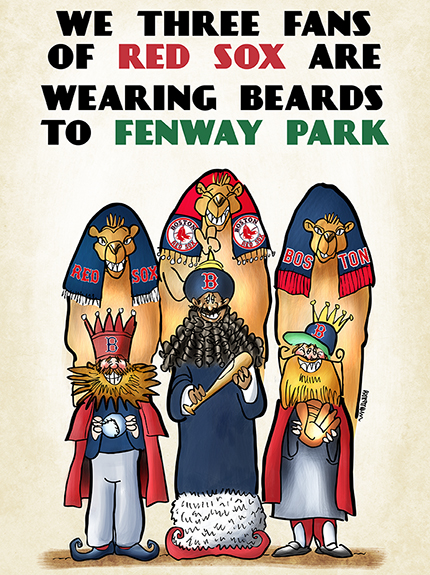 Wise Men Three Kings Epiphany parody showing three Boston Red Sox fans with beards and camels and bat ball and glove gifts headed for Fenway Park to pay homage to their bearded baseball heroes and 2013 World Series Champions