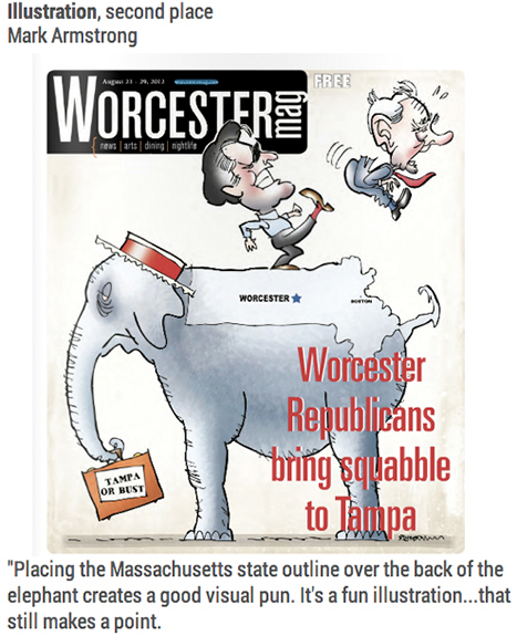 Worcester Magazine cover by Mark Armstrong showing Mitt Romney kicking Ron Paul off elephant in 2012 Massachusetts presidential primary dispute cover won second place for illustration at 2014 NENPA awards
