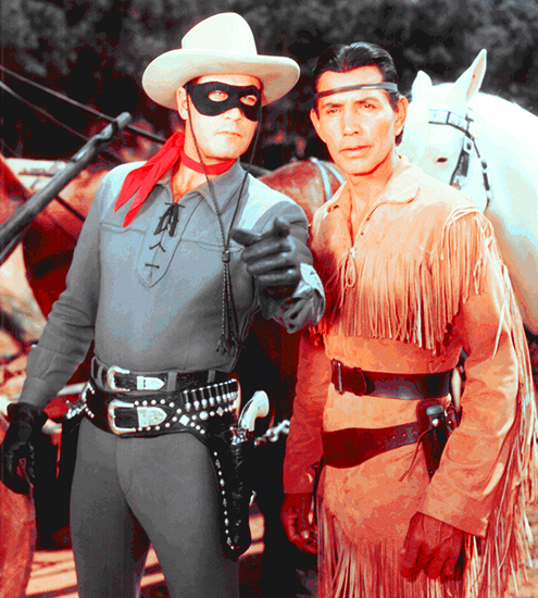Clayton Moore and Jay Silverheels as Lone Ranger and Tonto as portrayed in 1950s TV western television series