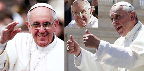 Pope Francis smiling and giving thumbs-up
