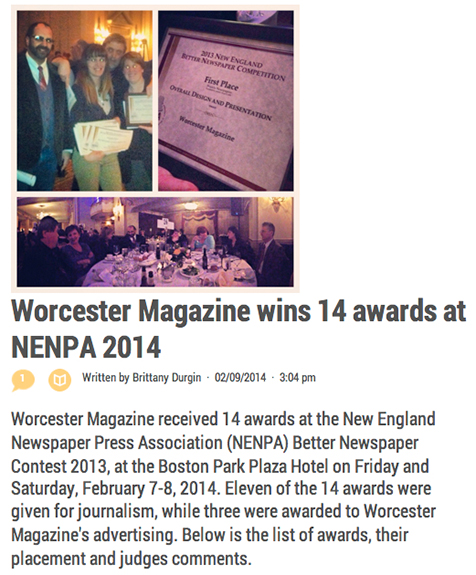Story intro Worcester Magazine wins 14 awards at NENPA 2014 New England Newspaper Press Association