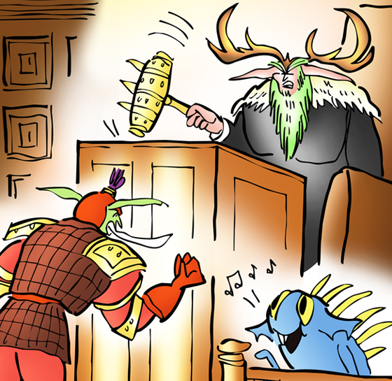 detail image for courtroom scene for lawsuit involving the online game World of Warcraft and voice and song for aquatic creature called Baby Murloc