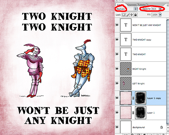 two medieval knights in armor, romantic situation, pink grunge texture added, then duplicated and mode equals multiply used to darken texture around perimeter