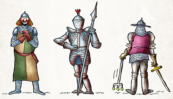 funny medieval King Arthur era knights standing wearing armor chain mail with swords spears