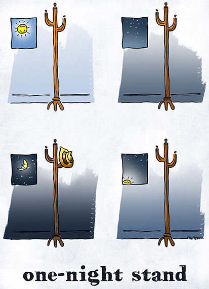 4-panel cartoon one-night stand hat stand day becomes night hat appears on stand overnight then gone by sunrise