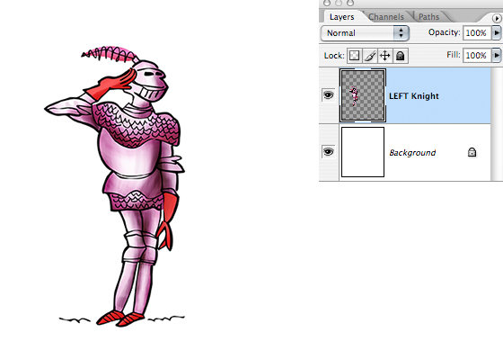 medieval knight in armor, romantic pose, copy merged pasted into new document on its own layer above white background layer