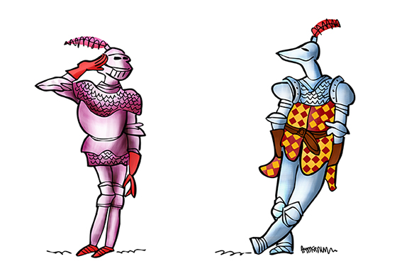 medieval knight in armor, romantic pose, second knight copy merged pasted into document, also on its own layer