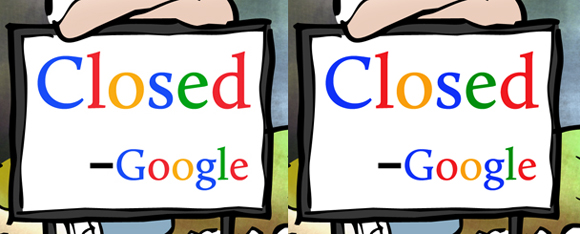 Two signs saying Closed by order of Google one sign showing darker letters by adding Photoshop Color Burn layer