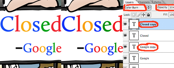Two signs saying Closed by order of Google one sign showing darker letters Photoshop Layers Window showing darkening effect achieved by adding Color Burn layer