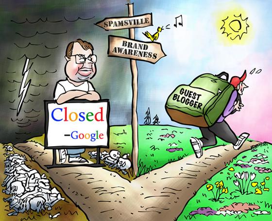ClickZ illustration guest blogger choosing path toward brand awareness Matt Cutts Google blocking road to spam to boost SEO and page rank