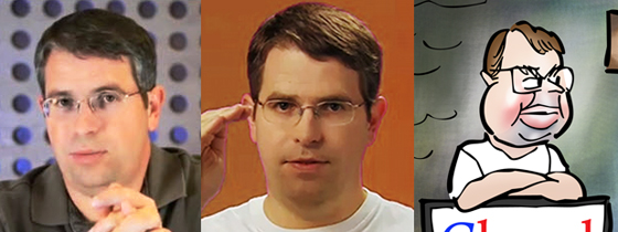 Two photos and caricature of Google spam watchdog SEO page rank expert Matt Cutts