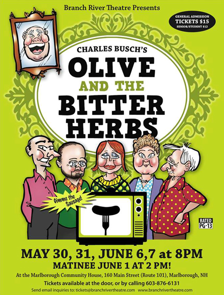 Promotional advertising marketing poster for Branch River community theater production of Charles Busch play Olive and the Bitter Herbs