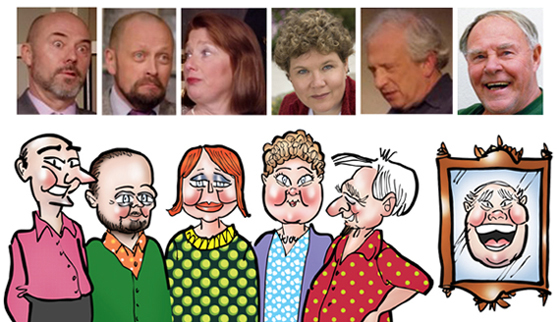 photo to caricature compare for Olive and Bitter Herbs theater poster, Scott Gardner, Bert Torsey, Wendy Almeida, Susan Erickson-West, Peter Eisenstadter, Henry Parkhurst