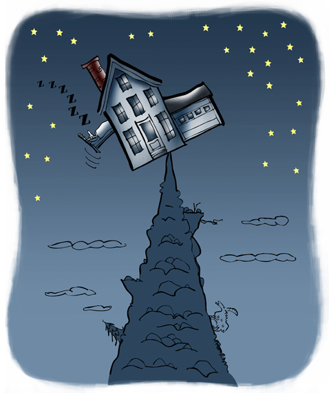 House balanced precariously on precipice point of mountain, guy sleeping in bed which is hanging out window, night sky with stars but no moon
