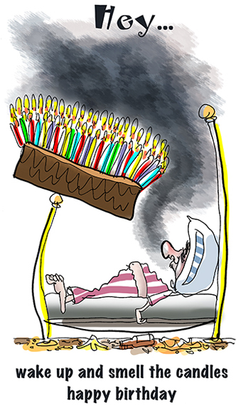 happy birthday greeting card guy sleeping in bed big cake with many lighted candles teetering on bedpost hey wake up and smell candles