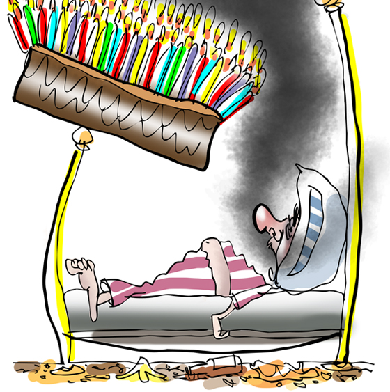 detail of happy birthday greeting card guy sleeping in bed big cake with many lighted candles teetering on bedpost hey wake up and smell candles