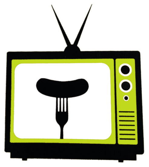 logo for Charles Busch play Olive and the Bitter Herbs television set with rabbit ears antenna and fork and sausage silhouette