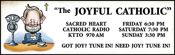 Banner for Joyful Catholic radio program, Roman Catholic Diocese of Spokane, Washington, caricature of host Eric Meisfjord sitting at microphone with cup of coffee