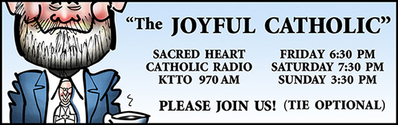 Banner for Joyful Catholic radio program, Roman Catholic Diocese of Spokane, Washington, caricature of host Eric Meisfjord wearing a Pope Francis necktie